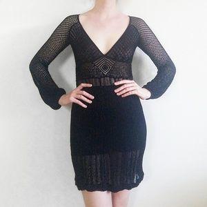 Catherine Malandrino Sheer Crochet Lace Dress